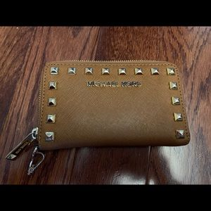 MICHAEL KORS saffiano leather studded wallet